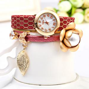 S5-51 Luxury Style Female Quartz Watch Bracelet with Decorative Flower Leaf -