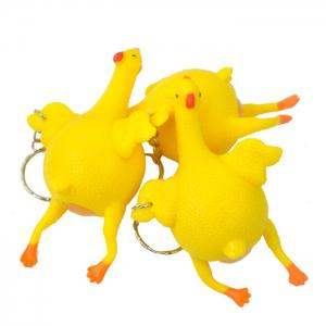 Novelty Push-egg Chicken Key Ring Interesting Air Vent Decompression Toy -