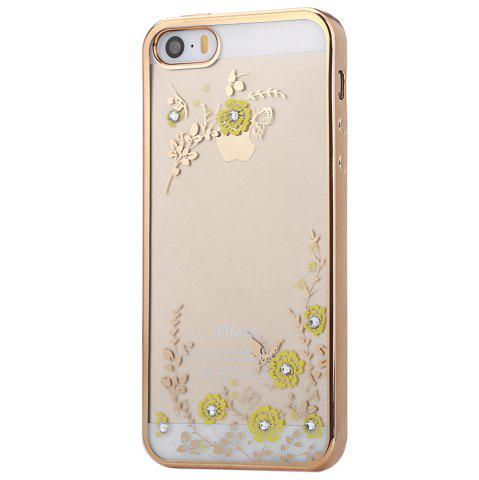 Online Diamond Style Protective Back Cover Case for iPhone 5 / 5S / SE Ultra-thin TPU Electroplated Edge Design Mobile Protector - GOLDEN  Mobile