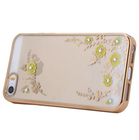 Affordable Diamond Style Protective Back Cover Case for iPhone 5 / 5S / SE Ultra-thin TPU Electroplated Edge Design Mobile Protector - GOLDEN  Mobile
