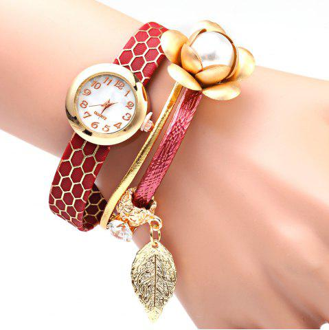 Trendy S5-51 Luxury Style Female Quartz Watch Bracelet with Decorative Flower Leaf