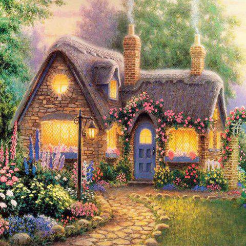 Beautiful Garden Hut Landscape Diamond Painting Crystal Rhinestone Cross-stitch Fantastic Drawing Home Art Decoration - Green - W79 Inch * L59 Inch