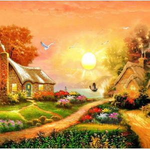 Beautiful Garden Hut Landscape Diamond Painting Crystal Rhinestone Cross-stitch Fantastic Drawing Home Art Decoration - Orange - No.05