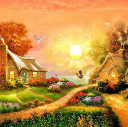 Beautiful Garden Hut Landscape Diamond Painting Crystal Rhinestone Cross-stitch Fantastic Drawing Home Art Decoration - ORANGE
