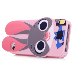 Cartoon Rabbit Pattern Protective Back Cover Case for iPhone 4 Silicone Soft Mobile Protector with Button Protection -
