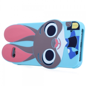Cartoon Rabbit Pattern Protective Back Cover Case for iPhone 6 / 6S Silicone Soft Mobile Shell with Button Protection -