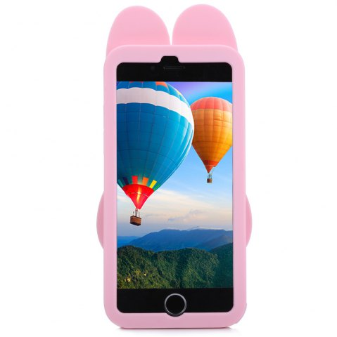 Buy Cartoon Rabbit Pattern Protective Back Cover Case for iPhone 6 / 6S Silicone Soft Mobile Shell with Button Protection - PINK  Mobile