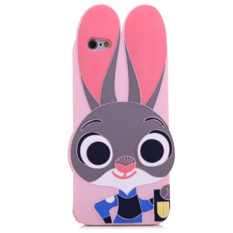 Trendy Cartoon Rabbit Pattern Protective Back Cover Case for iPhone 6 / 6S Silicone Soft Mobile Shell with Button Protection - PINK  Mobile