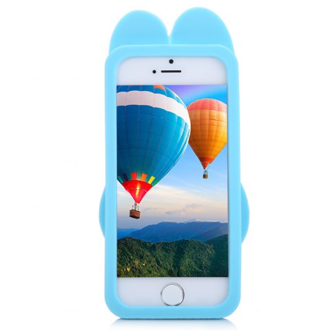 Trendy Cartoon Rabbit Pattern Protective Back Cover Case for iPhone 5 / 5S / SE Silicone Soft Mobile Shell with Button Protection - BLUE  Mobile