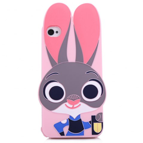 Fancy Cartoon Rabbit Pattern Protective Back Cover Case for iPhone 4 Silicone Soft Mobile Protector with Button Protection