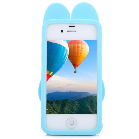 Sale Cartoon Rabbit Pattern Protective Back Cover Case for iPhone 4 Silicone Soft Mobile Protector with Button Protection - BLUE  Mobile