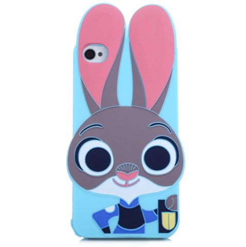 Buy Cartoon Rabbit Pattern Protective Back Cover Case for iPhone 4 Silicone Soft Mobile Protector with Button Protection - BLUE  Mobile