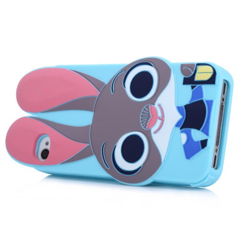 Online Cartoon Rabbit Pattern Protective Back Cover Case for iPhone 4 Silicone Soft Mobile Protector with Button Protection - BLUE  Mobile