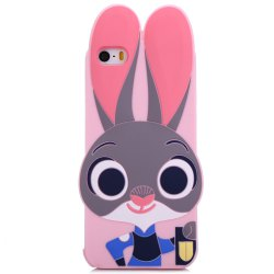 Cartoon Rabbit Pattern Protective Back Cover Case for iPhone 5 / 5S / SE Silicone Soft Mobile Shell with Button Protection