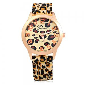 Geneva Watch with 12 Numbers Indicate Round Dial Rubber Band for Women - Golden -