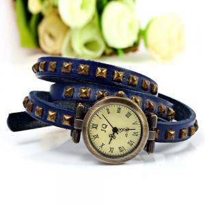 Geneva Quartz Watch 12 Roman Number Indicate Leather Watch Band for Women (Blue) -