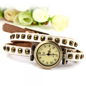 Geneva Quartz Watch 12 Roman Number Indicate Leather Watch Band for Women (White) - WHITE