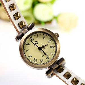 Geneva Quartz Watch 12 Roman Number Indicate Leather Watch Band for Women (White) -