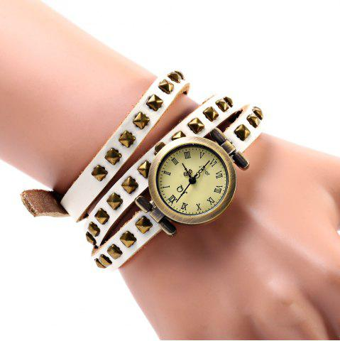 Outfits Geneva Quartz Watch 12 Roman Number Indicate Leather Watch Band for Women (White)