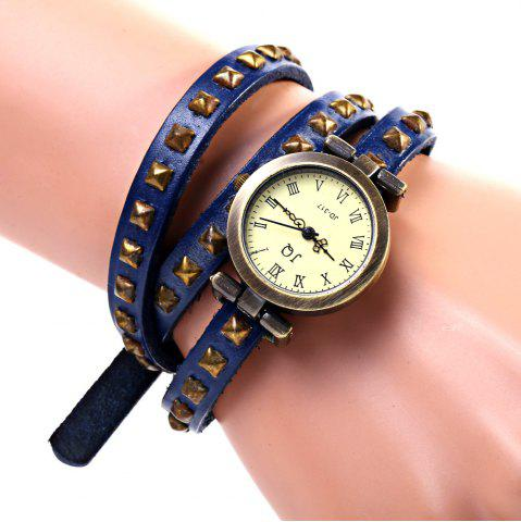 Trendy Geneva Quartz Watch 12 Roman Number Indicate Leather Watch Band for Women (Blue)