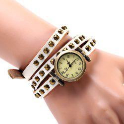 Geneva Quartz Watch 12 Roman Number Indicate Leather Watch Band for Women (White)