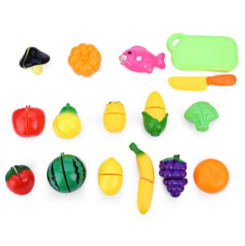 Affordable 16Pcs Kids Plastic Vegetable Fruit Toy Role Kitchen Cutting Set