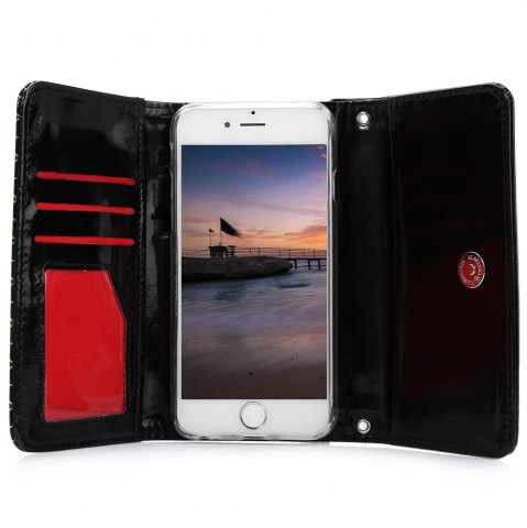 Latest Grid Pattern PU Leather Protective Case for iPhone 6 Plus / 6S Plus Full Body Protector with Card Slot - BLACK  Mobile
