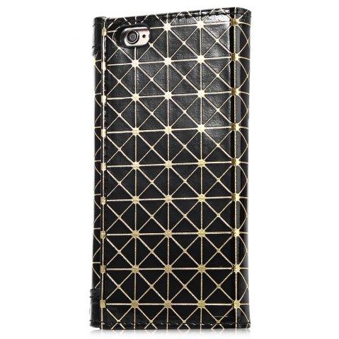 Online Grid Pattern PU Leather Protective Case for iPhone 6 Plus / 6S Plus Full Body Protector with Card Slot - BLACK  Mobile