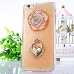 Rose Pattern Protective Back Cover Case for iPhone 6 Plus / 6S Plus TPU Soft Mobile Protector with Ring Bracket -
