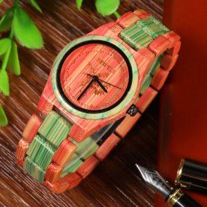 BEWELL Female Quartz Watch Colorful Bamboo Made -