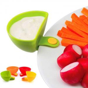 Multi-functional Plastic Clip Dishes Snacks Sauce Flavoring Plates -