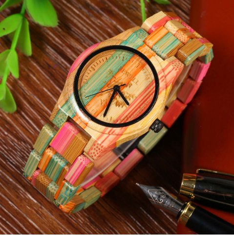 Sale BEWELL Female Quartz Watch Colorful Bamboo Made
