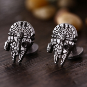 Spaceship Shape Pair of Stylish Cufflinks Clothing Decors - Bronze