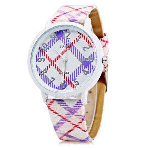 Best OLJ B1844 Lovely Style Female Quartz Watch with Checkered Pattern Dial