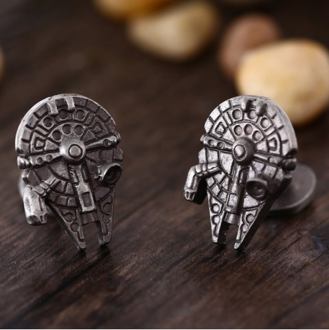Fancy Spaceship Shape Pair of Stylish Cufflinks Clothing Decors - BRONZE  Mobile