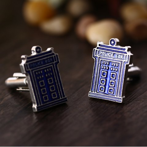 Fancy Doctor House Shape Pair of Stylish Cufflinks Clothing Decors - BLUE  Mobile