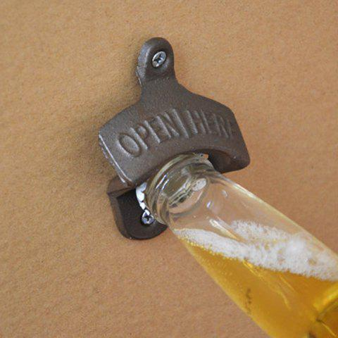 Retro Cast Iron Wall-hung Bar Beer Bottle Opener with Hanging Hook - DUN
