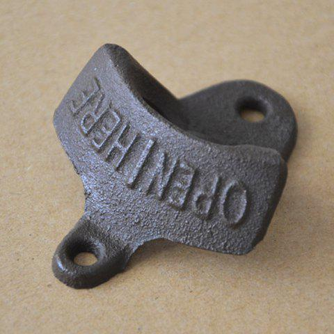Outfits Retro Cast Iron Wall-hung Bar Beer Bottle Opener with Hanging Hook - DUN  Mobile