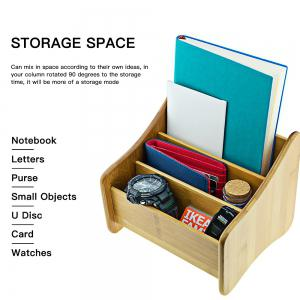 Multi-functional Bamboo Storage Box Decorative Gadgets Container Home Art Craft - BROWN