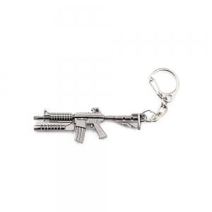 Key Chain Rifle Hanging Pendant Metal Keyring Online Military Game Toy for Bag Decoration - Silver Gray - Style 4