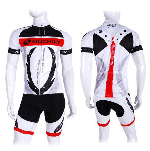 Best NUCKILY AJ208 BK267 Men Polyester Windproof Bicycle Cycling Suit -   Mobile