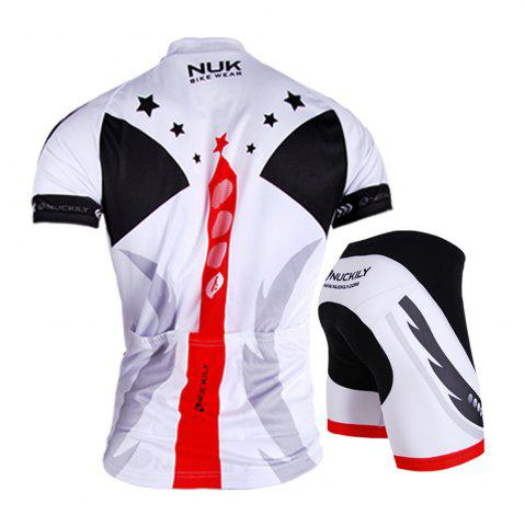 Discount NUCKILY AJ208 BK267 Men Polyester Windproof Bicycle Cycling Suit -   Mobile