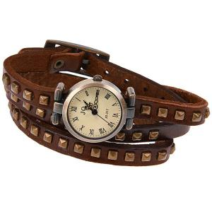 Geneva Quartz Watch 12 Roman Number Indicate Leather Watch Band for Women (Dark Brown) -