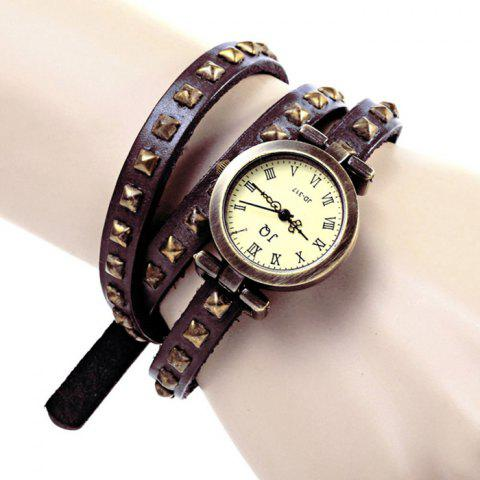 Shops Geneva Quartz Watch 12 Roman Number Indicate Leather Watch Band for Women (Dark Brown)