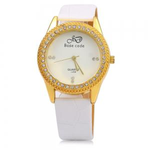 Base code J - 038 Casual Style Leather Band Female Quartz Watch -