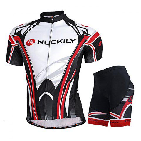 Buy NUCKILY MA008 MB008 Men Polyester UV Resistant Bicycle Cycling Suit - White Black 2XL