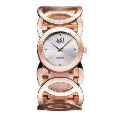 ASJ b065 Diamond Scale Women Quartz Watch with Helix Pattern Strap
