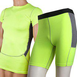 Yuerlian Men Two-piece Fitness Compression Set Short Sleeve + Short Pants