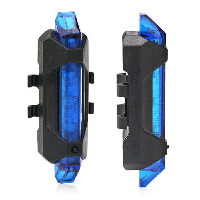 Portable LED USB Rechargeable Cycling Bike Tail LightHOME<br><br>Color: BLUE; Type: Tail Light; Placement: Saddle Tube; Suitable for: Cross-Country Cycling,Electric Bicycle,Fixed Gear Bicycle,Motorcycle,Mountain Bicycle,Road Bike,Touring Bicycle; Features: Waterproof; Material: PC; Color: Blue,Red,White;