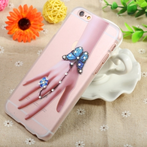 Diamond Style Protective Back Case for iPhone 6 / 6S Ultra-thin PC Hard Mobile Shell - TRANSPARENT BUTTERFLY HAND